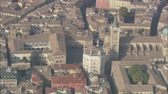 AERIAL Italy-Parma Cathedral And The Gothic Belfry - stock footage