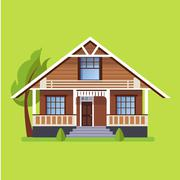 Colorful Flat Residential Houses Stock Illustration