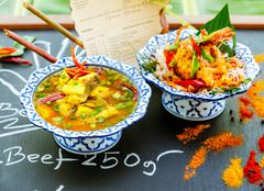 Authentic thai cuisine with decoration and flavour. Stock Photos