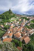 View over the historic centre to the Cathedral Le Puy en Velay Auvergne - stock photo