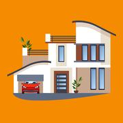 Colorful Flat Residential Houses - stock illustration