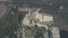 AERIAL Italy-Flight Round The Fortress Of San Leo - stock footage
