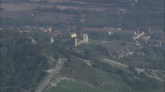 AERIAL Italy-Landscape Of Farms, Castles And Villages - stock footage