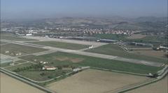 AERIAL Italy-Landing At Falconara Airport Stock Footage