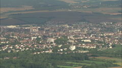 AERIAL France-Auxerre From A Distance Stock Footage