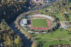 Stadion der Freundschaft stadium in Hofwiesenpark on the Weisse Elster river Stock Photos