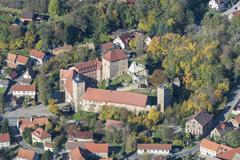 Aerial view Kapellendorf medieval moated castle now a museum venue for cultural Kuvituskuvat