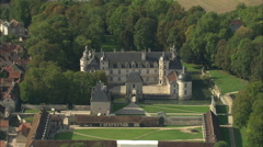 AERIAL France-Chateau De Tanlay Stock Footage