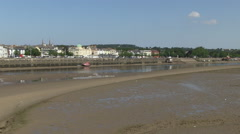 Bideford Town View from Across the River Torridge at Low Tide in North Devon Stock Footage