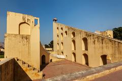Samrat  Yantra - Giant Sundial in Jantar Mantar - ancient observatory. Jaipur Stock Photos