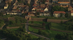 AERIAL France-Neuf-Brisach And Citadel At Dusk - stock footage