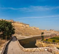 Famous Rajasthan landmark - Amer (Amber) fort, Rajasthan, India - stock photo