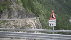 Serpentine mountain road in the Alps Stock Footage