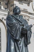 Stock Photo of Martin Luther Memorial at the Frauenkirche or Church of Our Lady historic