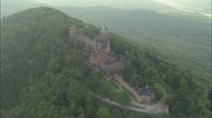 AERIAL France-Chateau Du Haut-Koenigsbourg Stock Footage