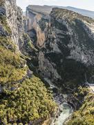 Rock incision Couloir Samson viewpoint Point Sublime Gorges du Verdon also Stock Photos