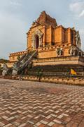 Buddhist temple Wat Chedi Luang. Chiang Mai, Thailand Stock Photos