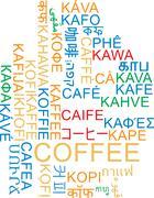 Coffee multilanguage wordcloud background concept - stock illustration