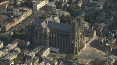 AERIAL France-Reims Cathedral Stock Footage
