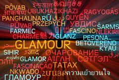 Stock Illustration of Glamour multilanguage wordcloud background concept glowing