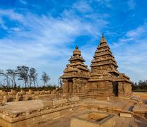Famous Tamil Nadu landmark - Shore temple, world  heritage site in  Mahabalip - stock photo