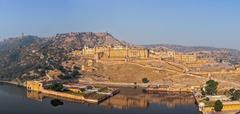 Famous Rajasthan landmark - Amer (Amber) fort, Rajasthan, India Stock Photos