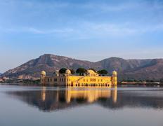 Rajasthan landmark - Jal Mahal (Water Palace) on Man Sagar Lake on sunset.  J - stock photo