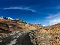 Manali-Leh road to Ladakh in Indian Himalayas near Baralacha-La pass. Himacha - stock photo