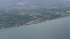 AERIAL Italy-Flight And Landing Near Forno Marina Stock Footage