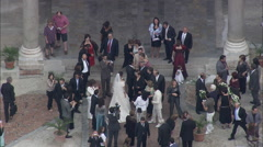 AERIAL Italy-Wedding In Cefalu Cathedral Stock Footage