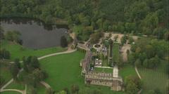 AERIAL France-Les Vaux De Cernay Abbey Stock Footage