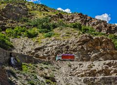 Manali-Leh road in Indian Himalayas with lorry. Himachal Pradesh Stock Photos