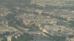 AERIAL France-Notre Dame In Sun Stock Footage