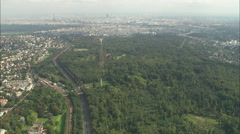 AERIAL France-Approaching Paris Across Saint-Cloud Park Stock Footage