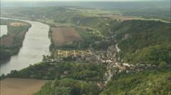 AERIAL France-Chateau De La Roche-Guyon Stock Footage