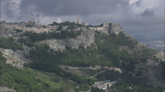 AERIAL Italy-Erice And Castle Stock Footage