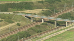 AERIAL France-Eurostar Approaching Channel Tunnel Stock Footage