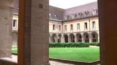 Cluny Abbey's cloister, Burgundy, France Stock Footage