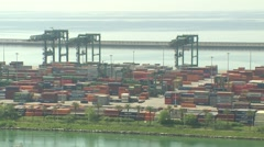 ITALY Genova - Prà harbor with containers Stock Footage