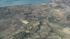 AERIAL Italy-Flight Looking Down On Valley Of The Temples From 5,000Ft Stock Footage