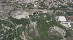 AERIAL Italy-Roman Ruins In Syracuse Stock Footage