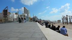 Visitors in Tel Aviv promenade in Tel Aviv Israel - stock footage