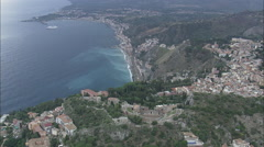 AERIAL Italy-Roman Theatre At Taormina Stock Footage