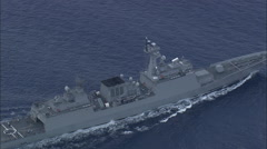 AERIAL Italy-Italian Warship And Support Vessel In Straits Of Messina Stock Footage