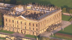 Stock Video Footage of AERIAL United Kingdom-Chatsworth House