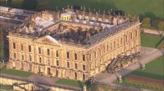 AERIAL United Kingdom-Chatsworth House Stock Footage
