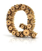 Alphabet Q formed by gears Stock Illustration