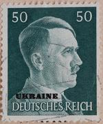 German stamp from 1941 with a portrait of Adolf Hitler and lettering Ukraine Kuvituskuvat
