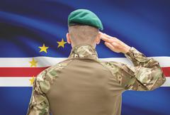 Soldier in hat facing national flag series - Cape Verde - stock photo