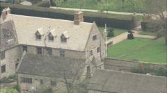 AERIAL United Kingdom-Sulgrave Manor Stock Footage